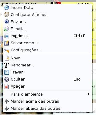 Knotes menu linux KDE