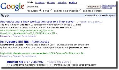 Busca no Google por Ubuntu e NIS