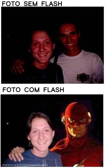 Foto com Flash e foto sem flash