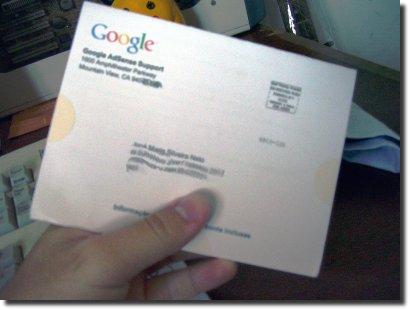 carta do adsense, frente