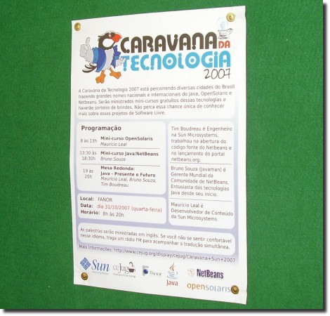 cartaz do evento afixado no flanelografo do cefet