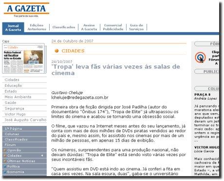Detalhe da reportagem do A Gazeta