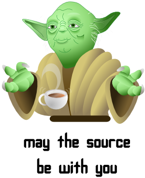 Cejug, Yoda, May the source be with you, star wars, café