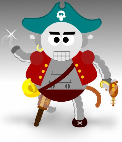 Mabbus Milkway, o macaco robô pirata mutante do espaço sideral.