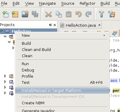 Install or reload in target platform