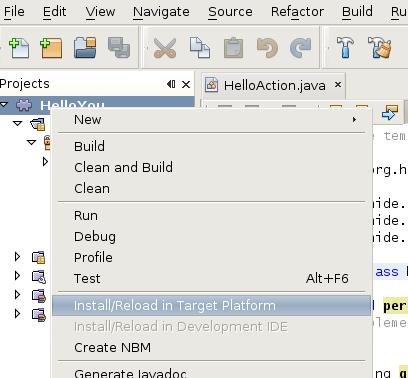 Install or reload in target platform