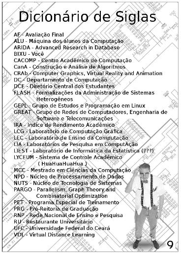 Um exemplo de página do manual dos bixus da computação. Algumas siglas do curso.