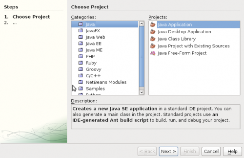 netbeans new project